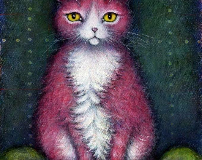 Pink Tuxedo Cat.  8 x 10 print