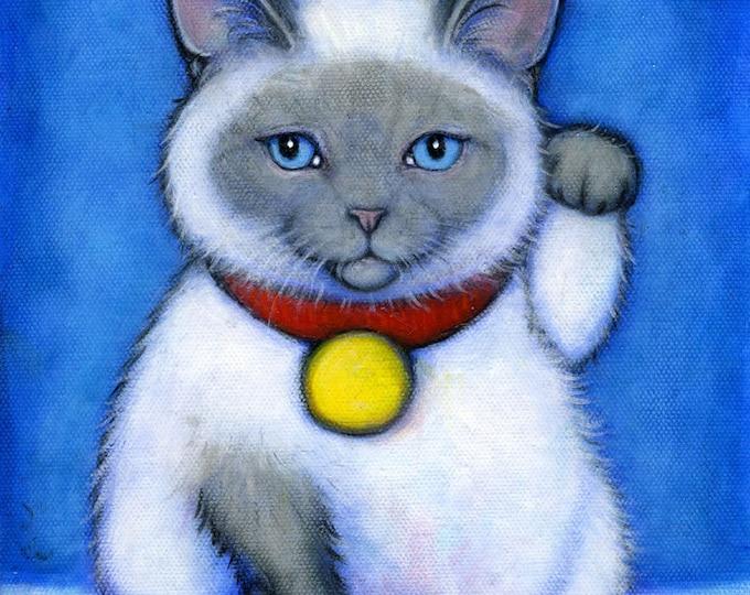 Siamese Maneki Neko.  Archival 8.5x11 tuxedo cat print