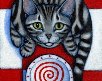 Cat art print from painting. Hungry Silver Tabby