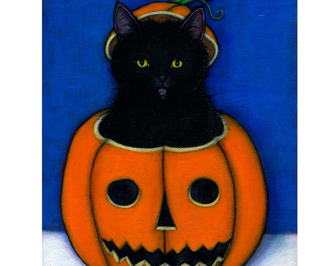 Black Cat Halloween art print. Jack OLantern