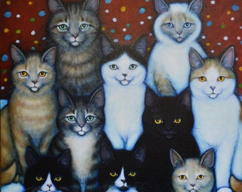 Commission an original oil painting of Your Pets having a Family Reunion. Price is per pet; please read description