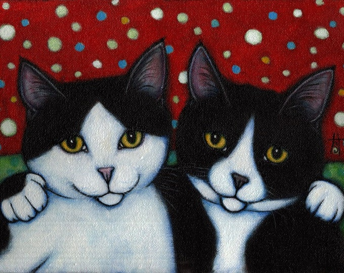 Featured listing image: Tuxedo Cat art print. Best Friends