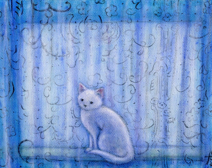 Ghost.  Print from my painting of a little white cat