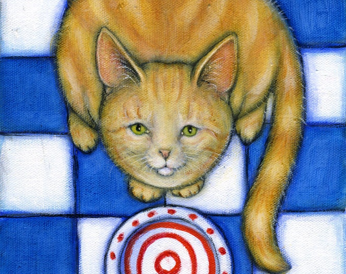 Hungry Willy.  Tabby cat 8 x 10 print
