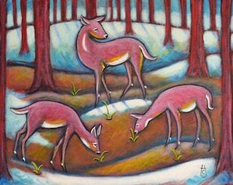 3 Pink Deer original Heidi Shaulis oil painting. Signs of Spring