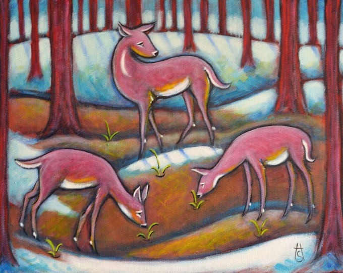 3 Pink Deer original Heidi Shaulis oil painting. Signs of Spring