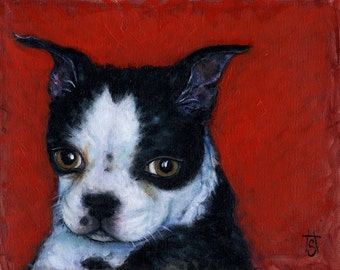 Mr. Wiggles.  Archival 8.5x11 Boston Terrier print