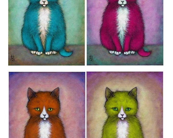 Tuxedo Cat cards. Colorful set of 5