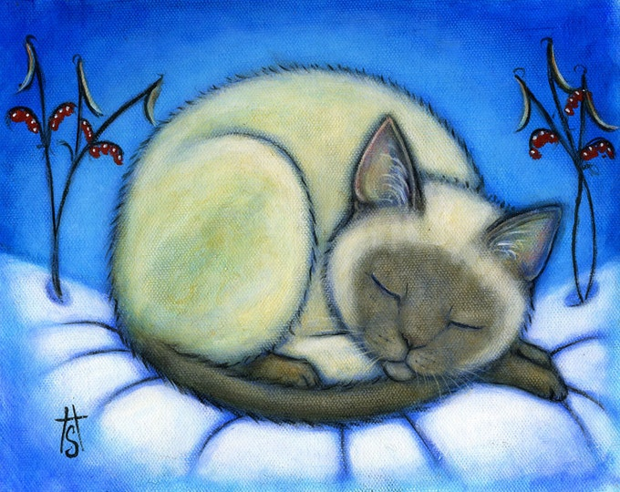 Siamese Cat in Snow.  Archival 8.5x11 print