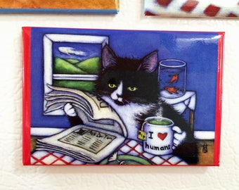 Breakfast with Charlie 2x3 Tuxedo Cat Refrigerator Magnet
