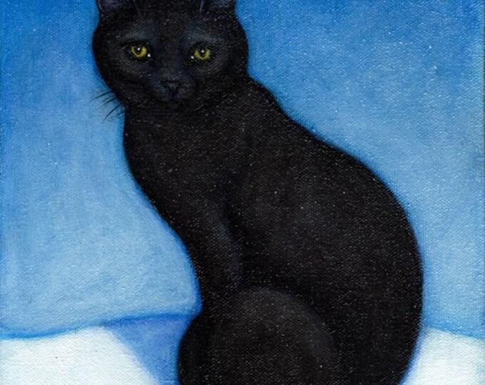 Black Cat in the Snow. 8 x 10 print