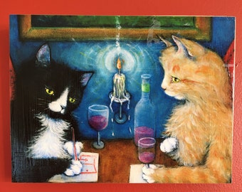 Ready to Hang Tuxedo and Tabby Cat Print The Plan. Mounted on wood panel. Free shipping