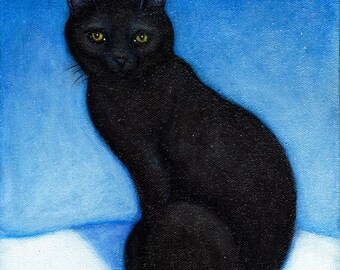 Black Cat in the Snow.  Archival 8.5x11 print