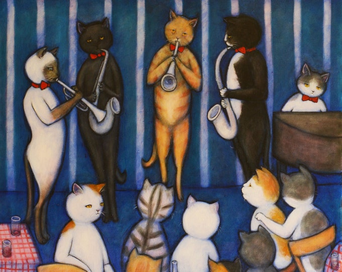 Catland Club. Original Heidi Shaulis oil painting of Charlie and cats at a jazz club