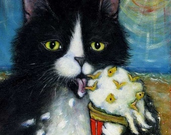 Tuxedo Cat art print. Charlie's Fishies 'n Cream