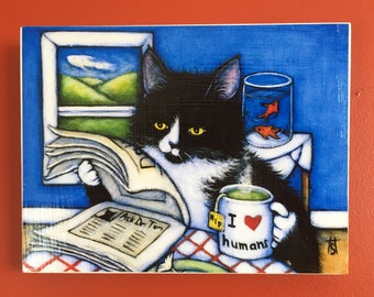 Ready to Hang Tuxedo Cat Print Breakfast with Charlie. Mounted on wood panel. Free shipping