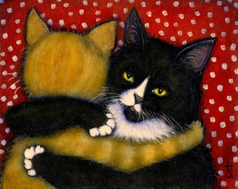 Tuxedo and Tabby cat print. Charlie and Willy in The Hug