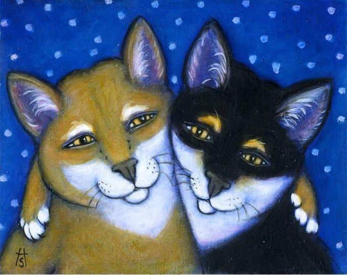 Shiba Inu dog Art 8 x 10 print. Shiba Best Friends