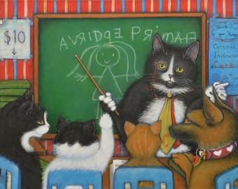 Continuing Education.  Archival 8.5x11 tuxedo cat print
