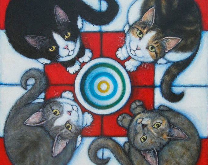 4 Hungry Cats Original Heidi Shaulis oil painting
