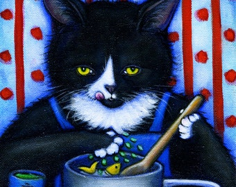 Charlie's Secret Ingredient. Tuxedo cat cooking with catnip. Archival 8.5x11 print