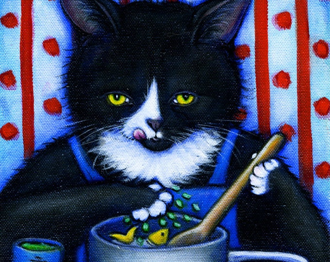 Charlie's Secret Ingredient. Tuxedo cat cooking with catnip. Archival 8.5x11 print