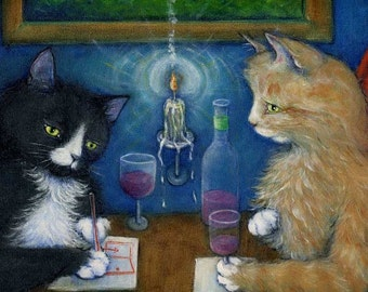 Tuxedo and tabby cat art print. Charlie in The Plan