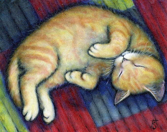 Willy. Archival 8.5x11 buff ginger tabby cat print