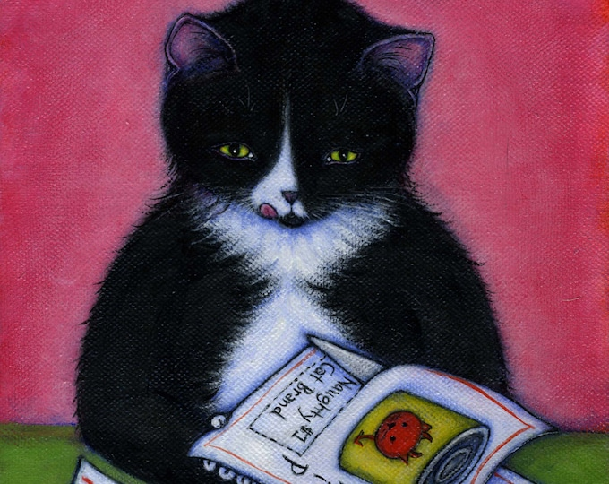 Thrifty Cat.  Archival 8.5x11 tuxedo cat print