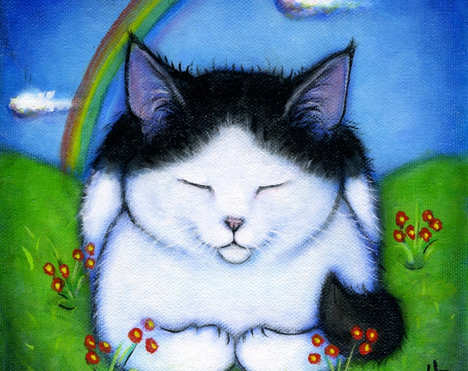Your cat at Rainbow Bridge: Commission an original memorial 8x8 oil painting