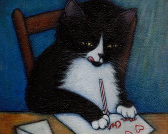 Tuxedo Cat cards. Mon Cheri. Set of 5