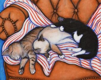 3 Little Kittens.  Archival 8.5x11  cat print