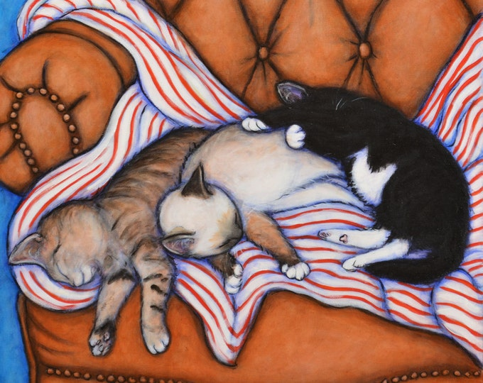 3 Little Kittens.  Archival 8.5x11  cat print