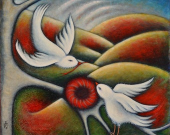 Original bird oil painting.  The Nest Builders