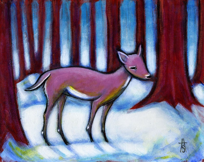 Pink Doe. original oil painting of a deer in a red forest