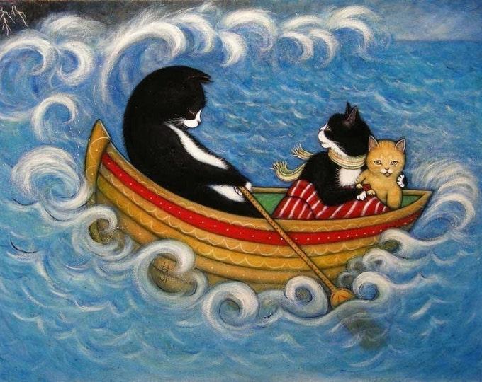 The Rescue.  8 x 10 Charlie tuxedo cat print
