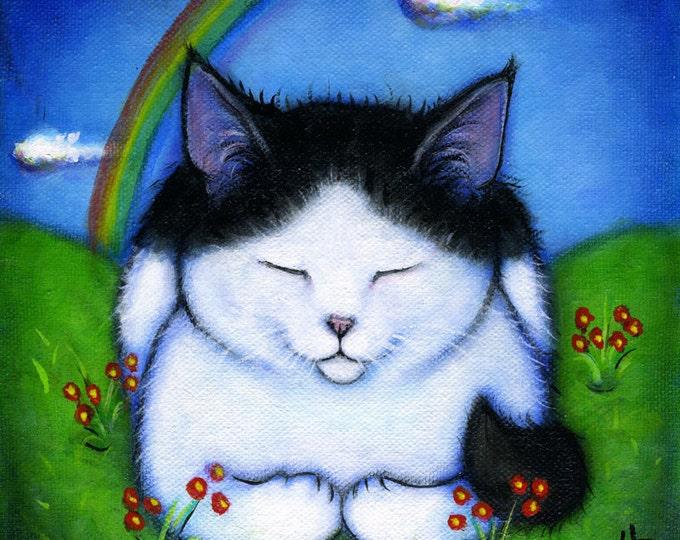 Black and White Cat at Rainbow Bridge.  8 x 10 print
