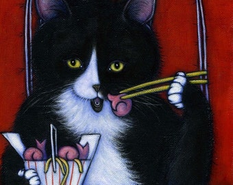 Lucky Fortune Cookie.  8 x 10 Charlie tuxedo cat print