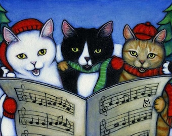 Cat Christmas Cards. We Wish you a Meowy Christmas. Set of 5