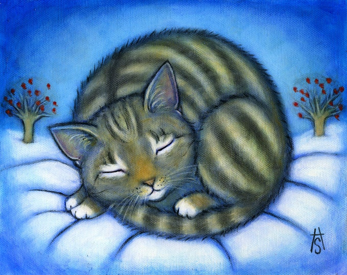Tabby Cat with Winter Apples.  Archival 8.5x11 print