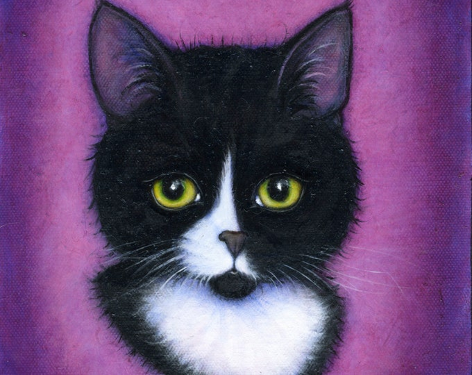 Tuxedo Cat art print. Portrait of Charlie