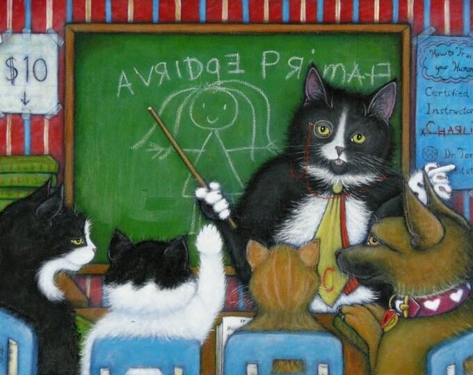 Continuing Education.  8 x 10 Charlie tuxedo cat print