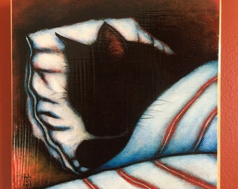 Ready to Hang Cat Print Black Cat Nap. Mounted on wood panel. Free shipping