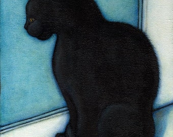 Black Cat in the Window.  8 x 10 print