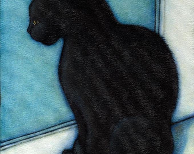 Black Cat in the Window.  8 x 10 print