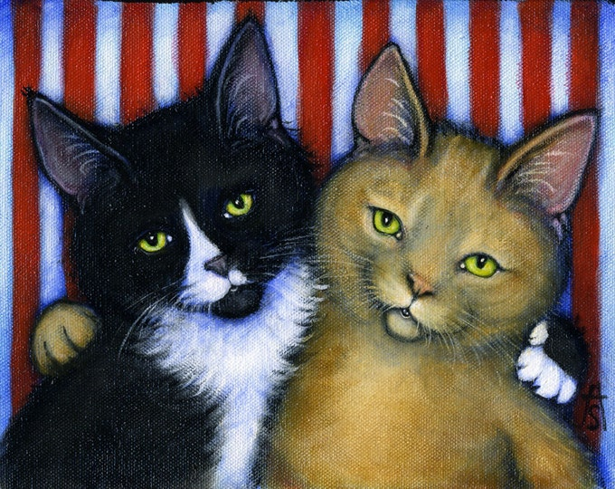 Tuxedo Cat and Tabby cards. Charlie and Willy in Best Friends II. Set of 5