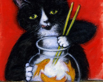 Sashimi Time.  Archival 8.5x11 Charlie tuxedo cat print