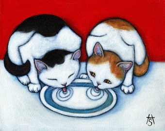 Milk for 2.  Archival 8.5x11 cat print