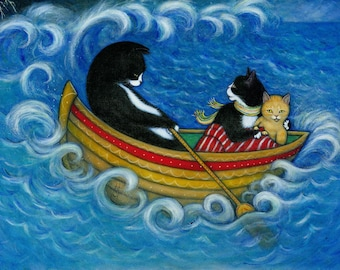 The Rescue.  Archival 8.5x11 print of 3 cats on a stormy sea