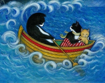 The Rescue.  Archival 11x14 print of 3 cats on a stormy sea